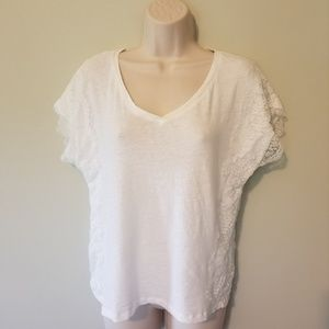 Meadow Rue V Neck Lace Short Sleeve Size Small
